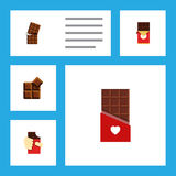 Flat Icon Chocolate Set Of Shaped Box, Cocoa, Wrapper And Other Vector Objects. Also Includes Dessert, Box, Chocolate Stock Photography