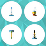 Flat Icon Cleaner Set Of Cleaning, Besom, Broom And Other Vector Objects. Also Includes Broom, Mop, Bucket Elements. Flat Icon Cleaner Set Of Cleaning, Besom Stock Images