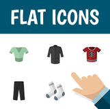 Flat Icon Clothes Set Of Pants, Uniform, T-Shirt And Other Vector Objects. Also Includes Leggings, Textile, Socks Royalty Free Stock Image