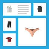 Flat Icon Clothes Set Of Singlet, Pants, Lingerie And Other Vector Objects. Also Includes Woman, Apparel, Sleeveless Stock Photo