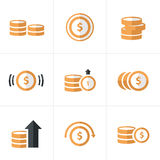 Flat icon  Coins Icons Set, Vector Design Stock Photography