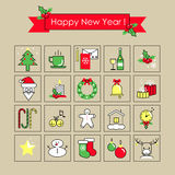 Flat icon collection Outline - New Year set vector illustration