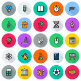 Flat icon collection. School education. Flat icon collection - School education. Vector illustration on white background Royalty Free Stock Photos