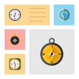 Flat Icon Compass Set Of Instrument, Geography, Divider And Other Vector Objects. Also Includes Orientation, Divider. Flat Icon Compass Set Of Instrument Stock Photo