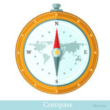 Flat icon compass on white. Flat icon compass isolated on white vector illustration