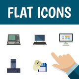 Flat Icon Computer Set Of Notebook, Technology, Display And Other Vector Objects. Also Includes Vintage, Mouse, Monitor. Flat Icon Computer Set Of Notebook Stock Illustration