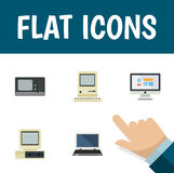 Flat Icon Computer Set Of Vintage Hardware, Computing, Notebook And Other Vector Objects. Also Includes Computing Royalty Free Stock Photography