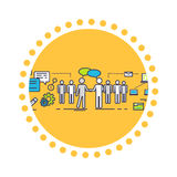 Flat Icon Concept of Business Partnership. Partner and teamwork, team people, cooperation and contract, deal handshake, professional corporate agreement Royalty Free Stock Image