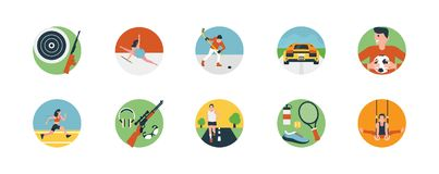 Flat Icon Set of Sports Icon. This flat icon consists of different sport`s icons including outdoor sports, indoor sports and extreme sports. If you have a sport` Stock Photography