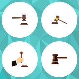 Flat Icon Court Set Of Court, Government Building, Legal And Other Vector Objects. Also Includes Court, Hammer, Law Stock Image