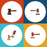 Flat Icon Court Set Of Defense, Government Building, Legal And Other Vector Objects. Also Includes Defense, Courthouse Royalty Free Stock Photo