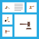 Flat Icon Court Set Of Legal, Court, Defense And Other Vector Objects. Also Includes Defense, Court, Legal Elements. Royalty Free Stock Photography