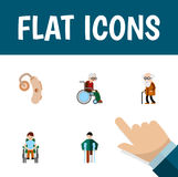Flat Icon Cripple Set Of Wheelchair, Audiology, Disabled Person And Other Vector Objects. Also Includes Wheelchair Royalty Free Stock Photography