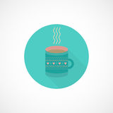 Flat icon cup of tea, coffee. Circle flat icon cup of coffee or tea. Vector icon with long shadow vector illustration