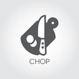 Flat icon of cutting board, knife and pieces of abstract product. Chopping desk - kitchen utensils theme. Vector logo Stock Photography