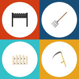 Flat Icon Dacha Set Of Barbecue, Wooden Barrier, Hay Fork And Other Vector Objects. Also Includes Barrier, Fence, Cutter royalty free illustration