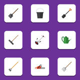 Flat Icon Dacha Set Of Grass-Cutter, Spade, Pail And Other Vector Objects. Also Includes Watering, Shovel, Fork Elements Stock Image