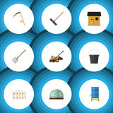 Flat Icon Dacha Set Of Harrow, Container, Hay Fork And Other Vector Objects. Also Includes Fence, Wooden, Barn Elements. Royalty Free Stock Images