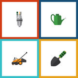 Flat Icon Dacha Set Of Pump, Lawn Mower, Bailer And Other Vector Objects. Also Includes Cutter, Tool, Mower Elements. Stock Image
