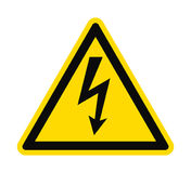 Flat icon danger high voltage. Black arrow in yellow triangle on white background. Vector illustration vector illustration