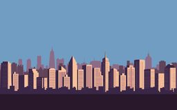 Flat icon design of city skyline, Cityscape with blue sky background Stock Photos