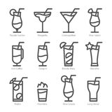 Flat icon design. Cocktails icons.  Royalty Free Stock Photo
