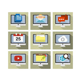 Flat Icon Design Computer. A set of flat icon design of computer technology with multiple functions Stock Images