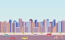 Flat icon design of downtown city landscape and car on road under blue sky background Royalty Free Stock Image