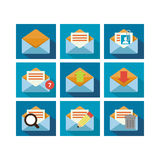 Flat Icon Design Mail. A set of flat icon design of mailing technology with multiple functions Royalty Free Stock Photo