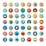 Flat icon designs, icons set, app, food, cartoon. Modern flat icons vector collection with long shadow effect in stylish colors of different elements on game Royalty Free Illustration