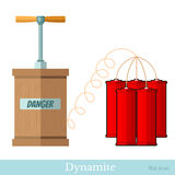 Flat icon  detonator and bundle dynamite sticks isolated Royalty Free Stock Photography