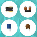 Flat Icon Device Set Of Coil Copper, Microprocessor, Triode And Other Vector Objects. Also Includes Transistor, Unit Stock Photo