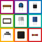 Flat Icon Device Set Of Cpu, Mainframe, Receptacle And Other Vector Objects. Also Includes Semiconductor, Cpu, Unit. Flat Icon Device Set Of Cpu, Mainframe Royalty Free Stock Photo