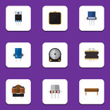 Flat Icon Device Set Of Cpu, Resist, Bobbin And Other Vector Objects. Also Includes Resistance, Fiildistor, Resistor Stock Photos