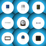 Flat Icon Device Set Of Memory, Receptacle, Cpu And Other Vector Objects. Also Includes Hdd, Random, Fiildistor Elements. Flat Icon Device Set Of Memory Royalty Free Stock Photo