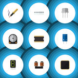 Flat Icon Device Set Of Microprocessor, Hdd, Repair And Other Vector Objects. Also Includes Cpu, Electronics, Fiildistor. Flat Icon Device Set Of Microprocessor Royalty Free Stock Image