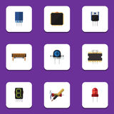 Flat Icon Device Set Of Microprocessor, Transducer, Receptacle And Other Vector Objects. Also Includes Copper, Recipient Royalty Free Stock Image