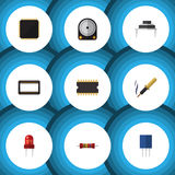 Flat Icon Device Set Of Recipient, Microprocessor, Mainframe And Other Vector Objects. Also Includes Resistance. Flat Icon Device Set Of Recipient Stock Images