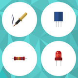 Flat Icon Device Set Of Recipient, Receptacle, Resistance And Other Vector Objects. Also Includes Recipient, Soldering. Flat Icon Device Set Of Recipient Stock Photo