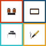 Flat Icon Device Set Of Repair, Destination, Coil Copper And Other Vector Objects. Also Includes Mainframe, Processor Stock Photos