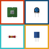 Flat Icon Device Set Of Resistance, Transducer, Receptacle And Other Vector Objects. Also Includes Receptacle. Flat Icon Device Set Of Resistance, Transducer Stock Image