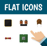 Flat Icon Device Set Of Resistance, Unit, Triode And Other Vector Objects. Also Includes Microprocessor, Triode, Unit Royalty Free Stock Photos