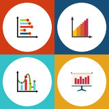 Flat Icon Diagram Set Of Monitoring, Graph, Chart And Other Vector Objects. Also Includes Infographic, Diagram, Easel Royalty Free Stock Photography