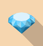 Flat Icon of Diamond with Long Shadow Royalty Free Stock Photos