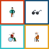 Flat Icon Disabled Set Of Wheelchair, Spectacles, Ancestor And Other Vector Objects. Also Includes Eyeglasses, Injured Stock Image