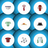 Flat Icon Dress Set Of Foot Textile, Underclothes, Panama And Other Vector Objects. Also Includes Shorts, Panama. Flat Icon Dress Set Of Foot Textile Royalty Free Stock Photography