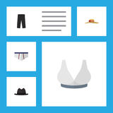 Flat Icon Dress Set Of Underclothes, Panama, Brasserie And Other Vector Objects. Also Includes Fedora, Pants, Underwear. Flat Icon Dress Set Of Underclothes Stock Images