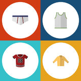 Flat Icon Dress Set Of Underclothes, T-Shirt, Banyan And Other Vector Objects. Also Includes Blouse, Underclothes. Flat Icon Dress Set Of Underclothes, T-Shirt Stock Photo