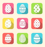 Flat icon of Easter ornate eggs, long shadow style Stock Photography