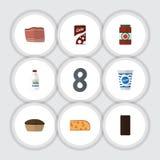 Flat Icon Eating Set Of Bottle, Ketchup Royalty Free Stock Photo